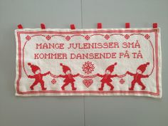 Danish Christmas Cross Stitch Embroidey Wall Hanging. 60s. Jul / Nisser / Elves / Gnomes / Red / Heart / Stars / Dance / Boy / Girl /