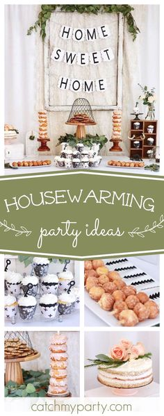Take a look at this stunning rustic housewarming party! The dessert table is amazing! See more party ideas and share yours at CatchMyParty.com #housewarming #rustic
