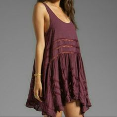 Free People Maroon Voile And Lace Trapeze Slip