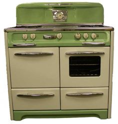 "#1050  This is a Wedgewood, 4-burner, from the 1950's. It features a custom color, oven/broiler, storage and a light. 40""wide, 29"" deep, 47"" tall."