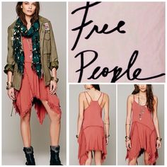 "Free People Shredded Slip Dress.  NWT. Free People Tattered Shredded Slip Dress, 100% rayon, lace trim 100% nylon, washable, 18"" armpit to armpit (36"" all around), 30"" shortest point length, 44"" longest point length, tattered and frayed allover, unlined, sweetheart neckline, adjustable straps, asymmetrical frayed hem, pullover style, measurements are approx.  No PayPal...No Trades... Free People Dresses"