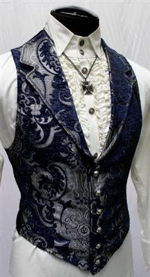 Shrine Gothic Wedding VICTORIAN ARISTOCRAT VEST - BLUE/SILVER TAPESTRY