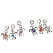 18pcs/lot sea turtle with Six colors mix crystal Charms platinum Plated Alloy Pendant Jewelry Findings 31*17.5*10mm