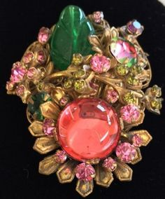 Vintage Miriam Haskell Brooch Glass Crystal Filigree