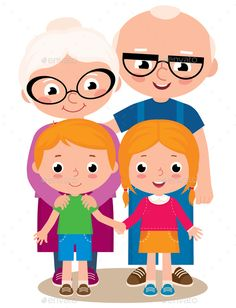 Buy Grandparents and Grandchildren by JelizaRose on GraphicRiver. Vector cartoon illustration of grandparents with their grandchildren boy and girl isolated on white background Cartoon Kids, Cartoon Images, Cartoon Drawings, Grandparents Day Activities, Cow Clipart, Love Png, Grandmothers Love, Arte Floral, Diy Painting