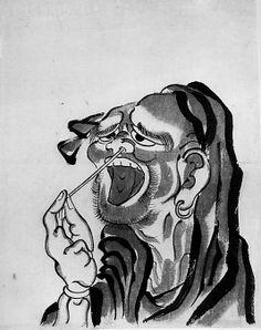 Daruma (Buddhist Saint)  School of Katsushika Hokusai  (Japanese, 1760–1849)  Date: 18th–19th century Culture: Japan Medium: Ink and color on paper