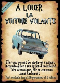 flying car poster, DIY and Crafts, flying car poster. Dobby Harry Potter, Harry Potter Bricolage, Décoration Harry Potter, Harry Potter Cosplay, Harry Potter Halloween Party, Harry Potter Birthday, Harry Potter Francais, Imprimibles Harry Potter, Harry Otter