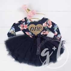 first Birthday floral outfit dress with heart and navy blue tutu for girls or toddlers, Floral dress, custom dress, long sleeve by GraceandLucille on Etsy https://www.etsy.com/listing/498766403/first-birthday-floral-outfit-dress-with