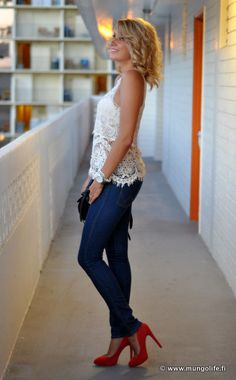 Bright red heels, white lace top