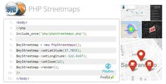 PHP Streetmaps . This easy to use PHP class library allows PHP/MySQL developers to create a wide variety of customized streetmaps by instantiating this PHP streetmap class (no javascript coding necessary!) Create custom streetmaps with the following mapbox/leafletjs built-in