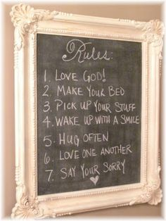 DIY - Chalkboard Paint over backing cardboard in frame and reassemble with backing up front.