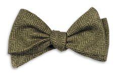 High Cotton   Olive Herringbone Bow Tie