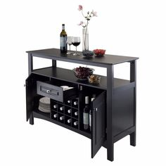Liquor Cabinet Home Bar Wine Whiskey Mini Rack Storage Buffet Table Modern Home #Winsome
