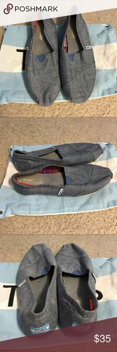 TOMS TOMS slip on shoes originally from Urban Outfitters. Denim color. Size 9. Have been worn a few times. In very good condition. No signs of wear or tear. In original packaging. No trades please. Thank you. Happy shopping! TOMS Shoes Flats & Loafers