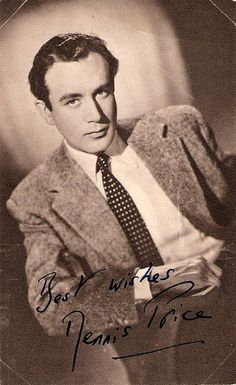 British actor Dennis Price (1915–1973) made nearly 130 films and television plays. He started as a suave leading man, and became a character star of great versatility. On the London stage he debuted in 1937 in Richard II with John Gielgud.
