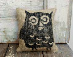 Owl   Burlap Feed Sack Doorstop by nextdoortoheaven on Etsy, $10.00
