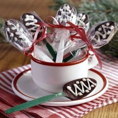 Chocolate spoons.. Could add cocoa etc to the cup as well... Great for kids to make for mum etc