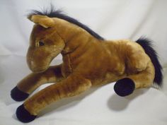 "Plush Horse Lying Brown Pony Soft Stuffed Children Bed Decor Toy Jumbo 24""  #na"