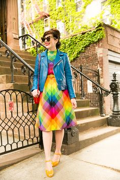 """Girl Gang! - Keiko Lynn in a rainbow vintage dress, Coach blue leather motorcycle jacket, b.a.i.t. footwear heels from ModCloth, Kate Spade heart crossbody bag, and """"Girl Gang"""" headband from ban.do"""