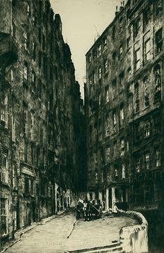 Ernest Lumsden, 1883-1948.  The Saut Buckets (Edinburgh). 1926. Drypoint.