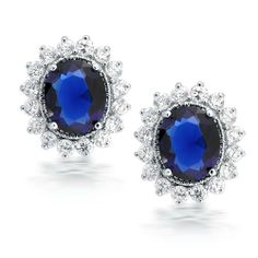 Bling Jewelry Kate Middleton Blue Sapphire Color CZ Crown Oval Stud Earrings Bling Jewelry. $24.99. oval shaped flower crown. rhodium plated. sapphire colored cubic zirconia. .7in L x .6in W. pierced ears only. Save 52% Off!