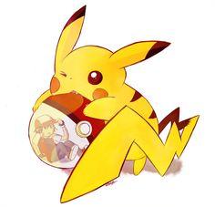 Pikachu, Red (Pokémon) (by The-everlasting-ash, deviantART)