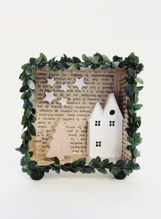 3D shadow box frame A christmas harvest house with light