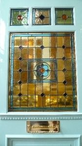Edwardian Style Three Over One Panel Stained Glass Front Door - Stained Glass Doors Company Stained Glass Door, Stained Glass Designs, Stained Glass Patterns, Leaded Glass, Mosaic Glass, Mosaic Patterns, Victorian Front Doors, Antique Doors, Antique Glass