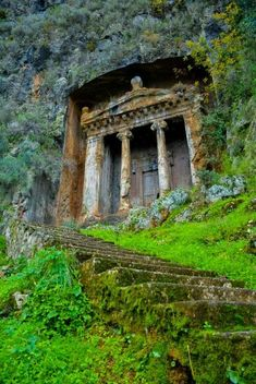 "The distinctive Tomb of Amyntas in Fethiye, Turkey. For a small fee, visitors can climb the stairs and see an amazing view of Fethiye from the ""front porch"" of the tomb. We are definitely stopping here to see the tomb! Abandoned Buildings, Abandoned Mansions, Abandoned Places, Abandoned Castles, Beautiful World, Beautiful Places, Beautiful Ruins, Amazing Places, Places To Travel"