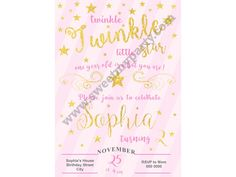 Twinkle Twinkle Little Star Birthday Invitation pink,(4)