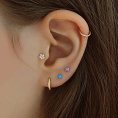 A mini 3mm opal ball stud with a butterfly push-back. This 14k gold opal ball stud earring is perfect for stacking along with other minimal studs and huggies to create a unique look! Opal ball stud is completely made from SOLID 14K GOLD, so it will not tarnish. Perfect for everyday wear! | Worldwide Shipping! Cute Ear Piercings, Solid Gold, Studs, Opal, Stud Earrings, Minimal, Butterfly, Create, Jewelry