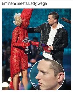 11 - Dank meme of Eminem shocked when meeting Lady Gaga Illuminati, Awkward Funny, Funny Cute, Haha Funny, Shit Happens, Laughing So Hard, I Love To Laugh, Funny Posts, Laugh Out Loud