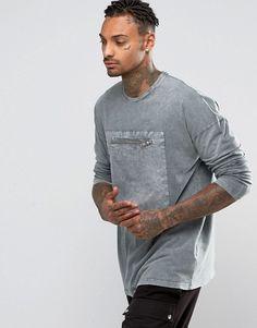 ASOS | Camiseta extragrande de manga larga con bolsillo tejido y lavado ácido de ASOS