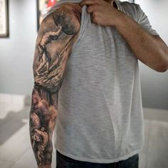 Atlas Mens Unique Shaded Mens Sleeve Tattoo