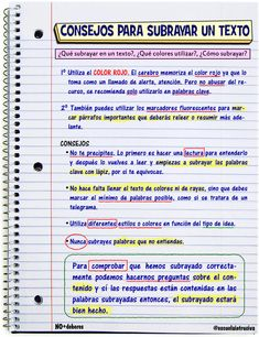 Subrayar un texto :: Tercero de Primaria School Organization Notes, Study Organization, Study Techniques, Study Methods, Class Notes, School Notes, Bullet Journal School, School Study Tips, Study Inspiration