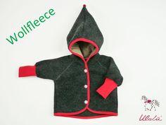Jacken - Baby Wollfleecejacke mit Zipfelkapuze Rot - ein Designerstück von Ulalue-Kinderdinge bei DaWanda