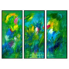 3-Panel Blooming Field Wall Decor