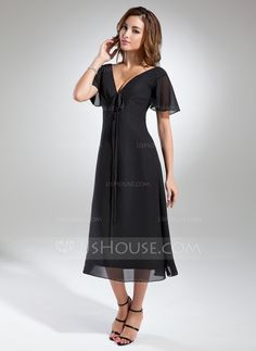 A-Line/Princess V-neck Tea-Length Chiffon Mother of the Bride Dress With Ruffle Bow(s) (008015560)
