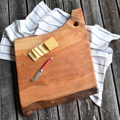 Live Edge Cherry Wood Cutting Board, Cheese or Bread Board, Serving Tray
