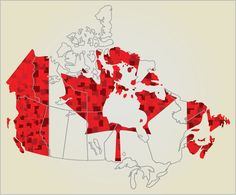 map of canada. flag.