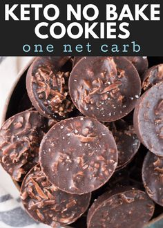 These fudgy Keto No Bake Cookies will remind you of classic no bake chocolate cookies without all the carbs! At just one net carb per cookie these sweet treats won't break your keto diet! Mug Cakes, Cake Mug, Keto Cookies, Healthy No Bake Cookies, 100 Calories, Keto Fat, Low Carb Keto, Low Carb Desserts, Low Carb Recipes