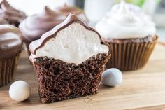 Homemade Chocolate Cupcakes with Marshmallow Frosting
