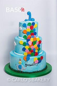 Bebê Bolo de aniversário da Padaria, balões, animais de Carlo