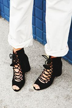 Mini Mod Heel Boot   Free People Suede open-toe lace-up boots featuring woven cord detailing and chunky rounded heels