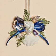 Removable Shell Collar with Natural Shells, Meadow Grass and a Navy Blue Satin Bow