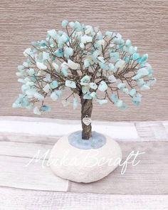 Handmade Amazonite semi-precious chip Gunmetal coloured cooper wire gemstone tree sculpture by MirkaBcraft on Etsy