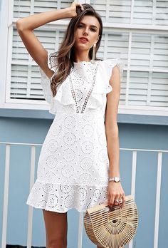 Amazing white lace mini everyday ruffle summer dress cotton bohemian party boho, - Summer Outfits for Work White Dress Summer, Little White Dresses, Casual Summer Dresses, Trendy Dresses, Short Dresses, Summer Outfits, Dress Casual, Boho Style Dresses, Boho Dress