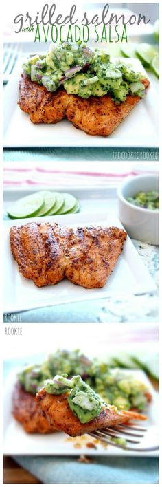 Healthy Avocado Recipes - Grilled Salmon with Avocado Salsa - Easy Clean Eating Recipes for Breakfast, Lunches, Dinner and even Desserts - Low Carb Vegetarian Snacks, Dip, Smothie Ideas and All Sorts (Salmon Recipes Clean Eating) Fish Dishes, Seafood Dishes, Seafood Recipes, Cooking Recipes, Recipes Dinner, Chicken Recipes, Seafood Meals, Lunch Recipes, Cooking Tips