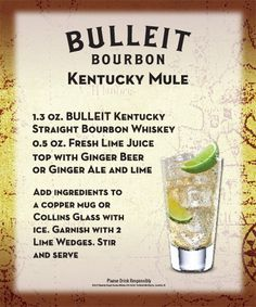 Enjoy this simple spin on the classic moscow mule recipe with our Bulleit Bourbon! Kentucky Mule, Bourbon Kentucky, Bulleit Bourbon, Bourbon Whiskey, Collins Glass, Moscow Mule Recipe, Copper Mugs, Whiskey Drinks, Lime Wedge