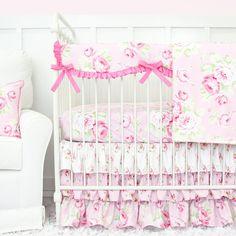 shabby chic rose vintage floral bumperless crib bedding set